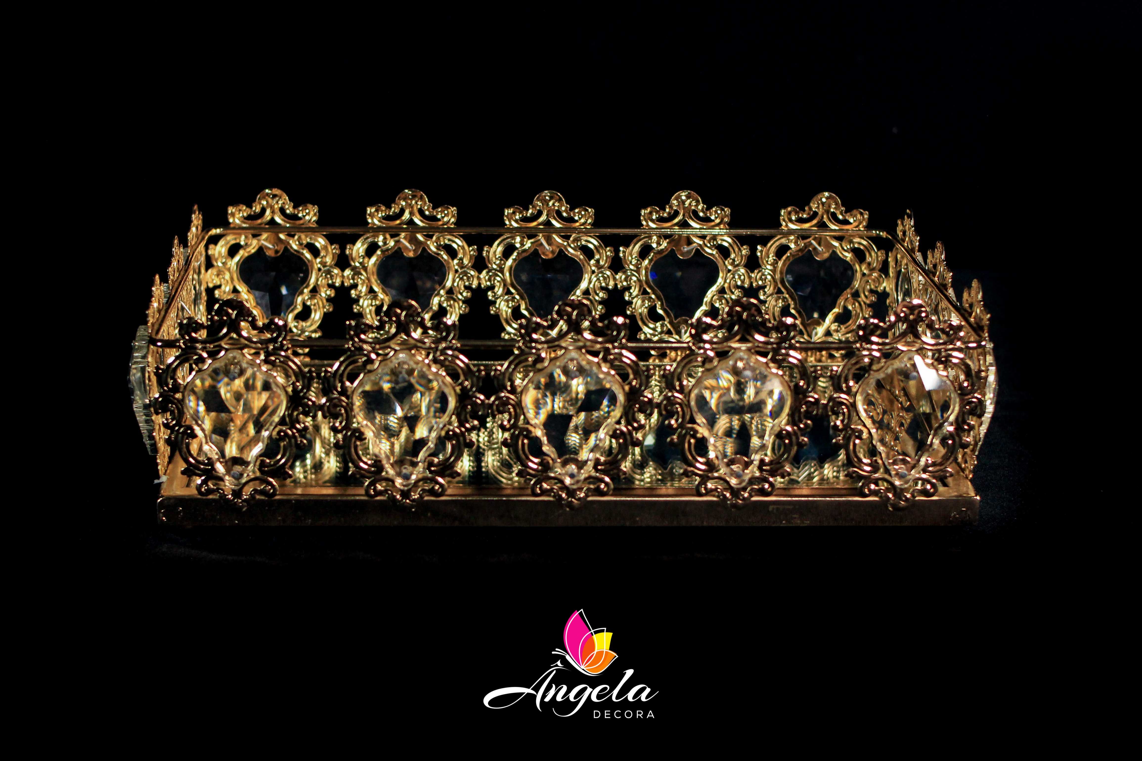 Bandeja Retangular Dourada Cristal 34x21x9cm