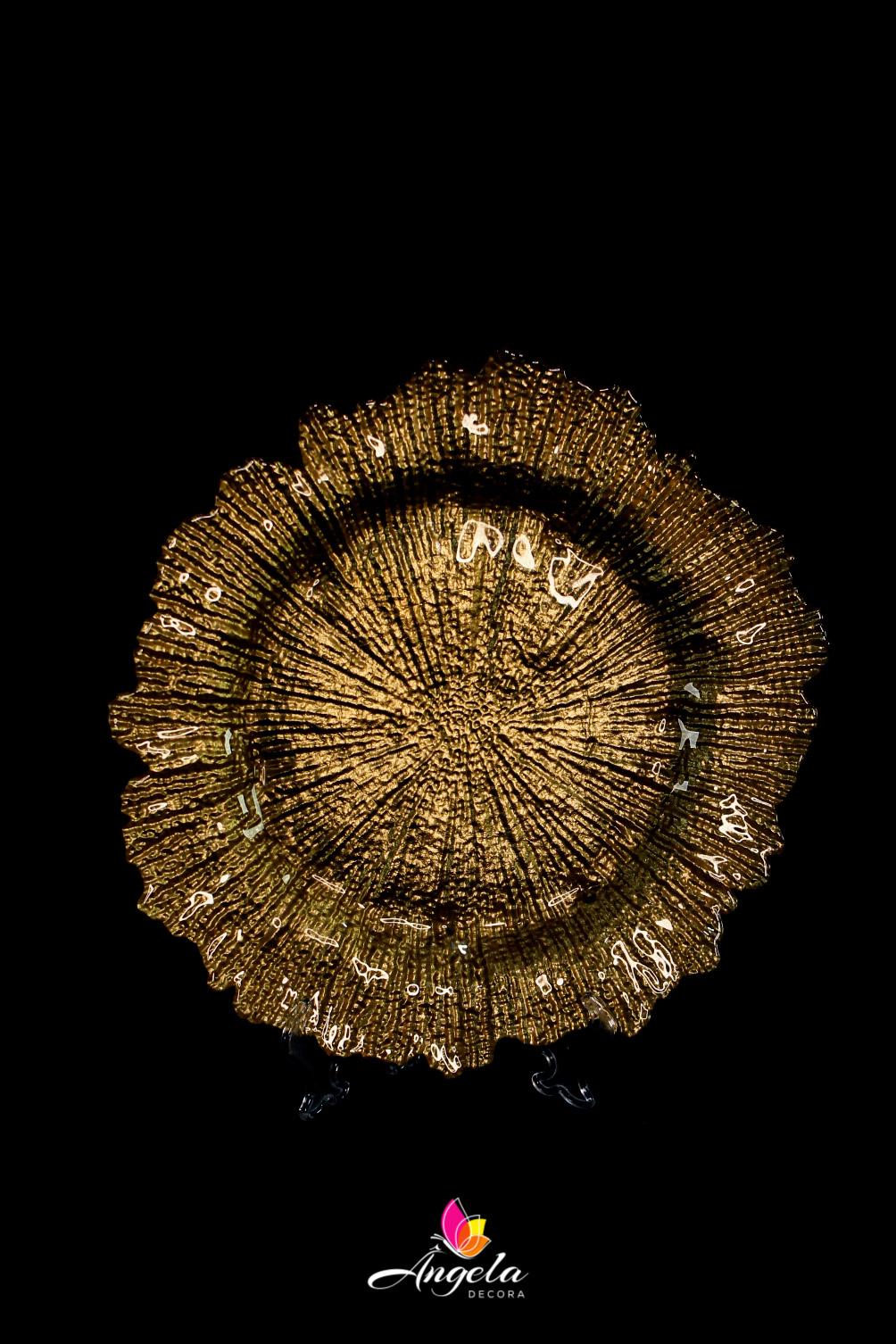 Sousplat de Vidro - Dourado