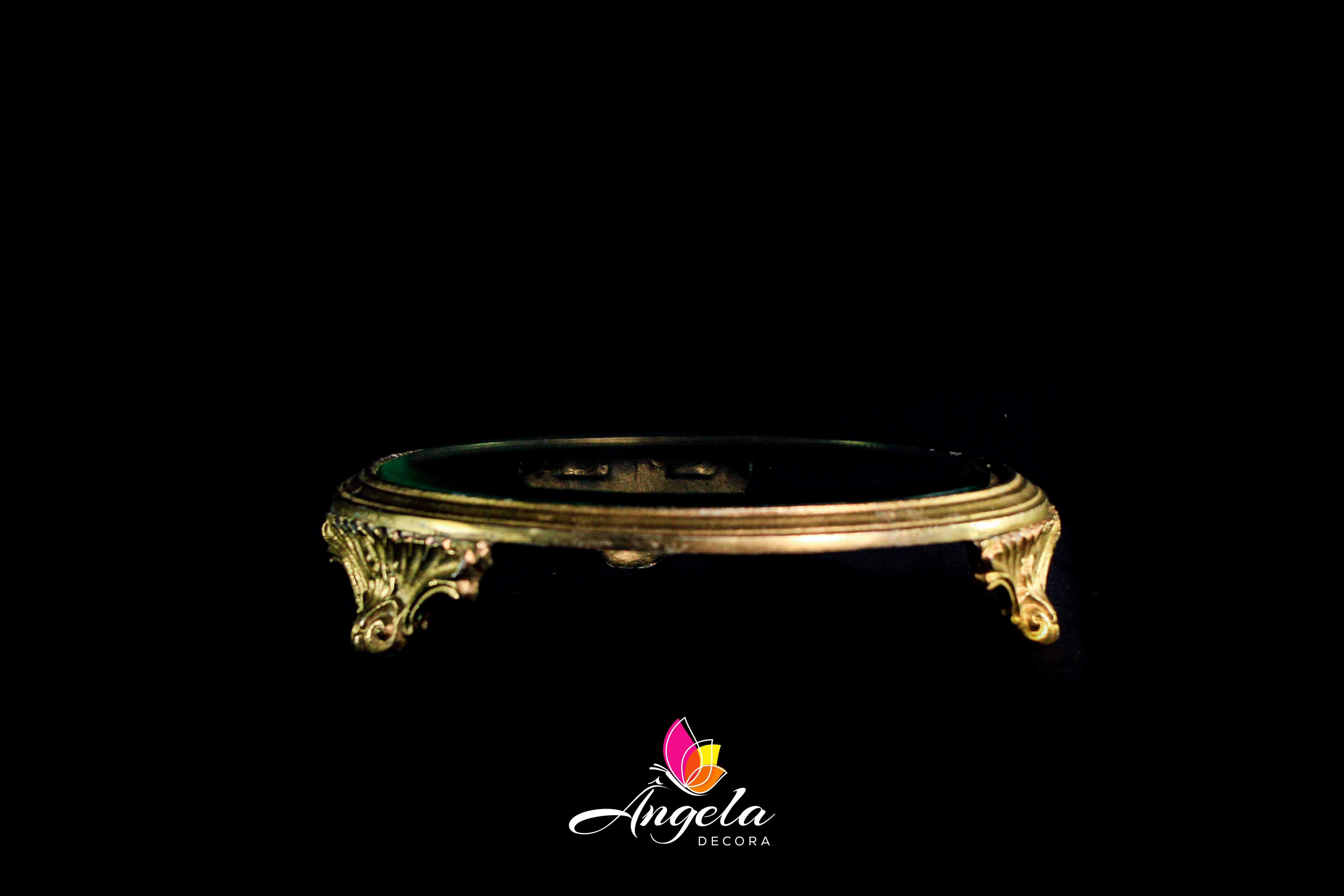 Suporte Doces Redondo de vidro com detalhes dourados